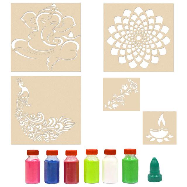 India-Ganesha-with-Subh-Deepawali-Rangoli-Stencils-for-Floor