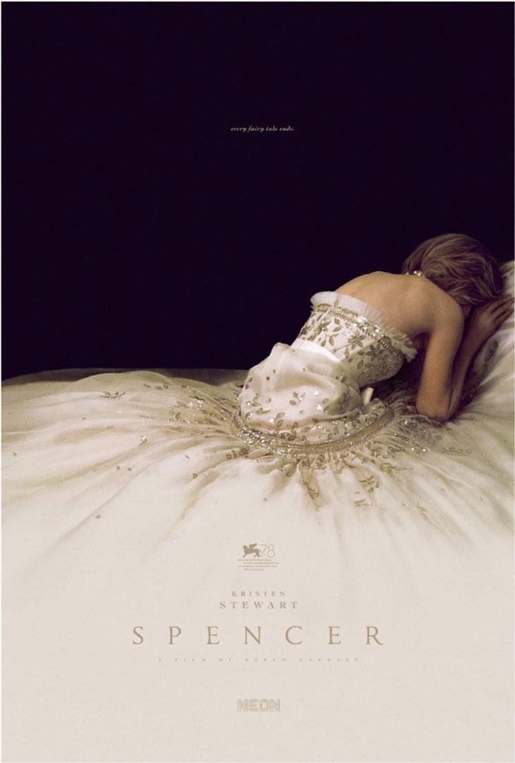 Kristen Stewart Channels Princess Diana in Stunning White Gown on 'Spencer' Movie Poster