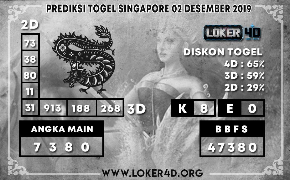 PREDIKSI TOGEL SINGAPORE LOKER4D 02 DESEMBER 2019