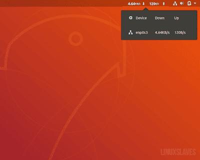 Network Download- Upload Ubuntu Panel