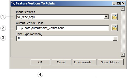 Menjalankan tool feature vertices to point