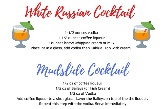 Mudslide cocktail with Irish cream