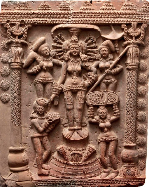 Goddess with weapons in her hair, Chandraketugarh, West Bengal, 2nd - 1st century BCE