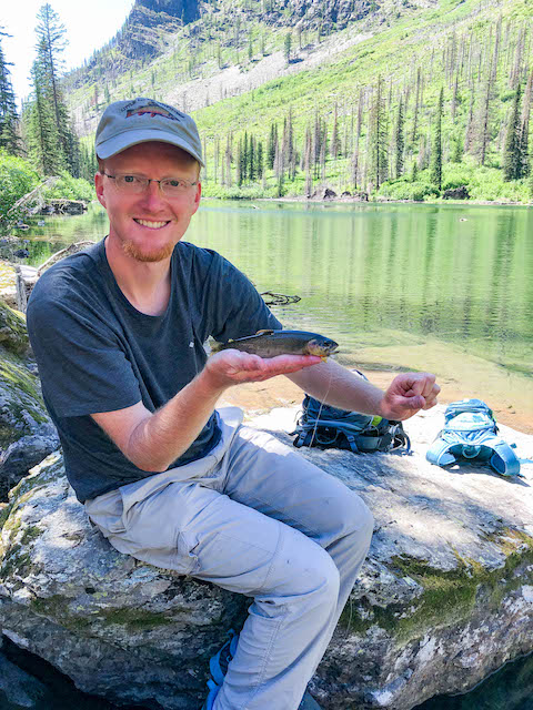 Snyder Lake cutthroat trout caught fly fishing with a Tenkara rod
