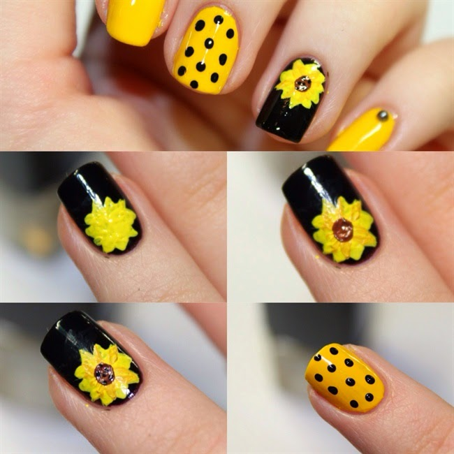 Sun Flower Nail Art Design Step By Step - Beauty And Fashion Tutorials
