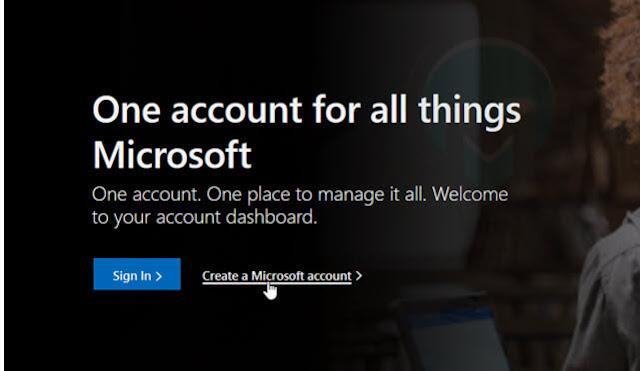 انشاء حساب جديد على مايكروسوفت