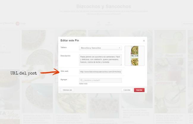 Editar un pin colocando la URL del post del blog | www.bizcochosysancochos.com