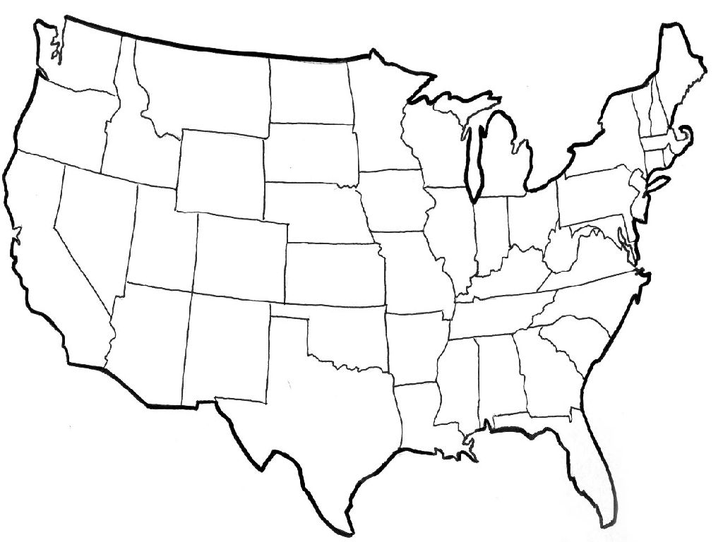 map outline of the united states