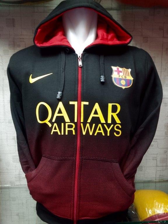 Jual jaket Hoodie Barcelona Hitam Gradasi merah terbaru