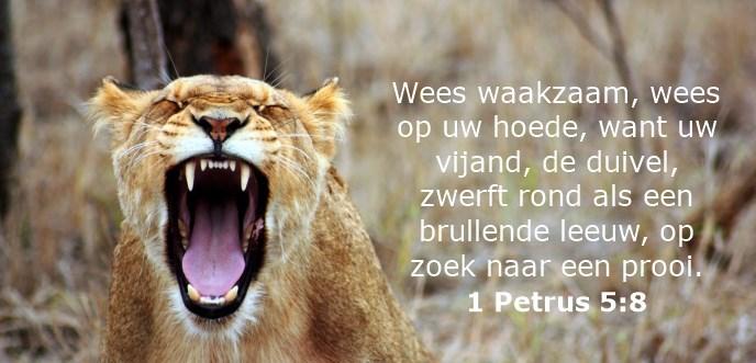 Wees waakzaam, wees op uw hoede, want uw vijand, de duivel, zwerft rond als een brullende leeuw, op zoek naar een prooi.