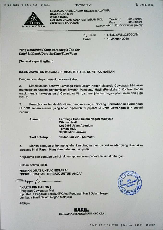 Jawatan Kosong Lhdn 2019 Tarikh Tutup 18 September