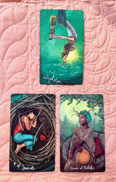 Mother-Tarot-Light-Seers-Tarot-4-swords-hanged-man-queen-pentacles