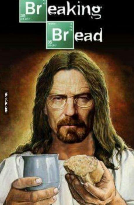 Funny Jesus Breaking Bread Picture