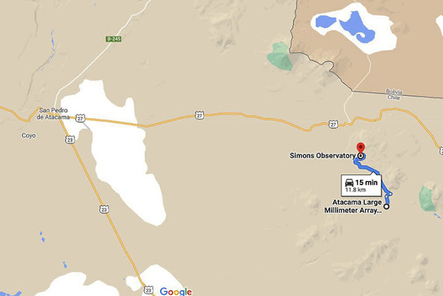 ALMA and Simons Observatory are pretty close together (Source: Google Maps)
