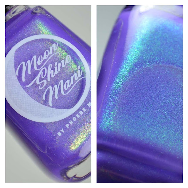 neon purple nail polish with shimmer in a bottle