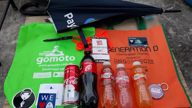 My loot from Paymaya, Gomoto, VOffice, Victoria Court, Deuter, TNP, Coca Cola, Wilkins Delight, and Alfox!