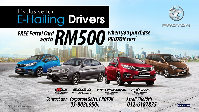 Proton free fuel card cash rebate promotion ehailing drivers