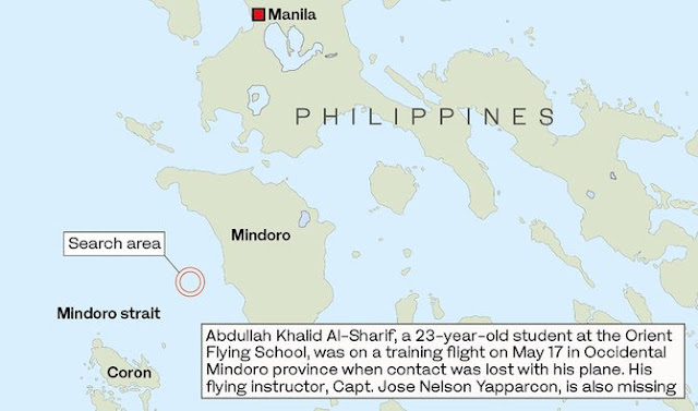 "Three days after the disappearance on May 17, Philippines Civil Aviation Authority (CAAP) said debris of an airplane was found in the area. A bag containing Yapparcon's identification cards and belongings have also been found.   ""Our investigators are just on standby. They still could not assess the debris that was found May 20 and, without the rest of the wreckage, they are also not in a position to investigate,"" Eric Apolonio, a spokesman for the Philippines Civil Aviation Authority (CAAP) said.  But Al-Sharif's brother, Abdul Majeed, criticized what he described as ""very weak"" search efforts by Philippines authorities as well as the Saudi Embassy in Manila for its lack of help.      Ads    Efforts to find a missing Saudi aviation student and his instructor who went missing May 17 in the Philippines continued on Monday.  Eric Apolonio, a spokesman for the Philippines Civil Aviation Authority (CAAP), said Coast Guard teams, divers and technicians armed with sonar equipment from the Orient Flying School (OFS) had been deployed to scan the waters south of the town of San Jose in Occidental Mindoro.  They have yet to find the missing Beechcraft Baron 55 (BB-55) aircraft or its two occupants, Abdullah Khalid Al-Sharif, a 23-year-old student at the OFS, and his teacher, Capt. Jose Nelson Yapparcon.  The two were on a training flight when the BB-55 vanished from radar shortly after takeoff from San Jose airport. Apolonio said operations, now in their 10th day, might expand beyond the waters of the San Jose Strait, about 42 km from the coast, but that the search was being hampered by bad weather conditions.  Ads       Sponsored Links    Despite ongoing rescue operations and the flying school's move to hire two private divers to search for the two, there is still no new development at all.  The Saudi Arabian pilot trainee went off the radar together with his flying instructor Nelson Yaparcon in the vicinity of Occidental Mindoro.  ""There are efforts made by the Philippine government but they are very weak,"" Abdul Majeed Al-Sharif, Abdullah's older brother. The Saudi Embassy in the Philippines also does not show cooperation and support as described by the older brother of the pilot trainee. They even brought their own equipment, a sonar, to help with the rescue efforts.  The Philippine Navy, however, said that the crash site is beyond their technical divers' capacity.  Saudi Foreign Ministry in a statement said that they are constantly following it up with the Embassy based in Manila to get the latest on the rescue operations."