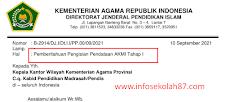 Surat Resmi Pengisian Pendataan Madrasah AKMI Tahap I