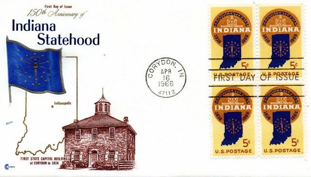 US 1308 Statehood Indiana 5c block MNH 1966 First Day Cover