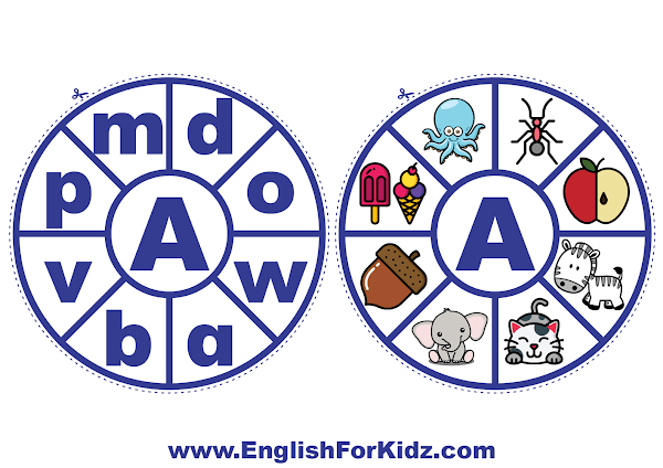 Alphabet matching wheel - letter a - clothespin ABC activities