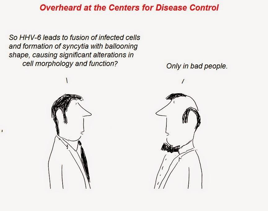 cartoon, cartoons, julian Lake, cfs, roseolovirus, hhv-6, hhv-7, hhv-8, chronic atiue syndrome, nih, fauci, gallo, porcine herpesvirus