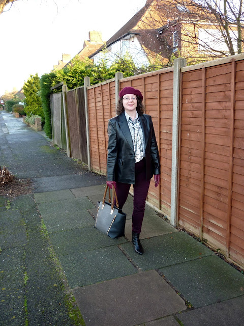Precis Petite Leather Jacket, Land's End Shirt, Accessorize Beret, New Look Sequin Scarf & Tote | Petite Silver Vixen