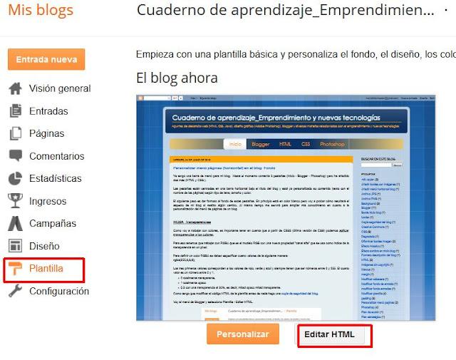 Editar HTML plantilla blogger