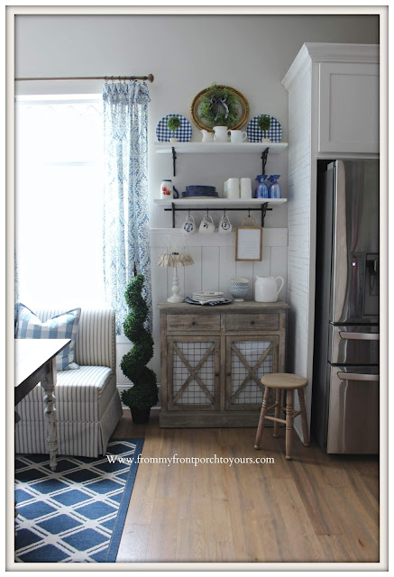 Breakfast- Nook-French-Country-Farmhouse-Cottage-Style-DIY-Open-Shelving-Blue & White--From My Front Porch To Yours