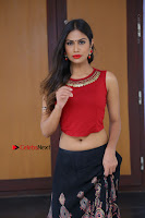 Telugu Actress Nishi Ganda Stills in Red Blouse and Black Skirt at Tik Tak Telugu Movie Audio Launch .COM 0196.JPG