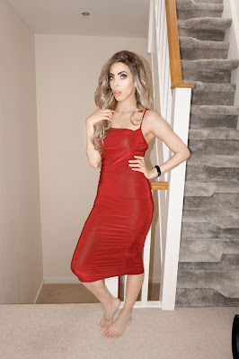 The Femme Luxe Wine Ruched Cowl Neck Bodycon Mini Dress in model Sofie.