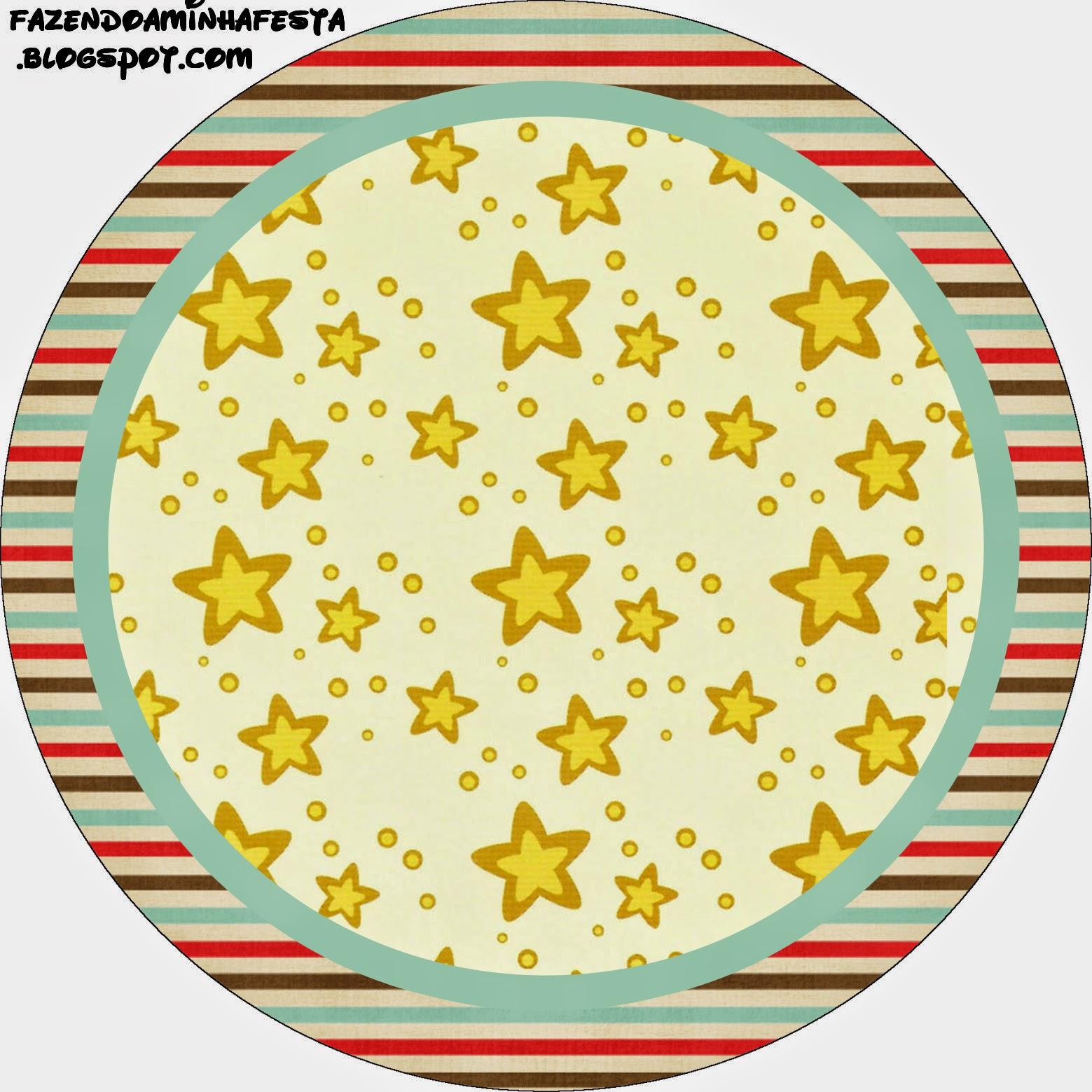 Toppers o Etiquetas para Imprimir Gratis de Estrellas Doradas y Rayas de Colores.