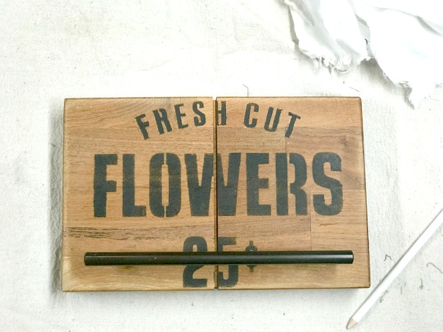 Butcher Block Countertop Towel Hangers using Old Sign Stencils
