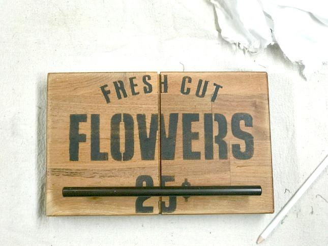 Butcher Block Countertop Towel Hangers using Old Sign Stencils