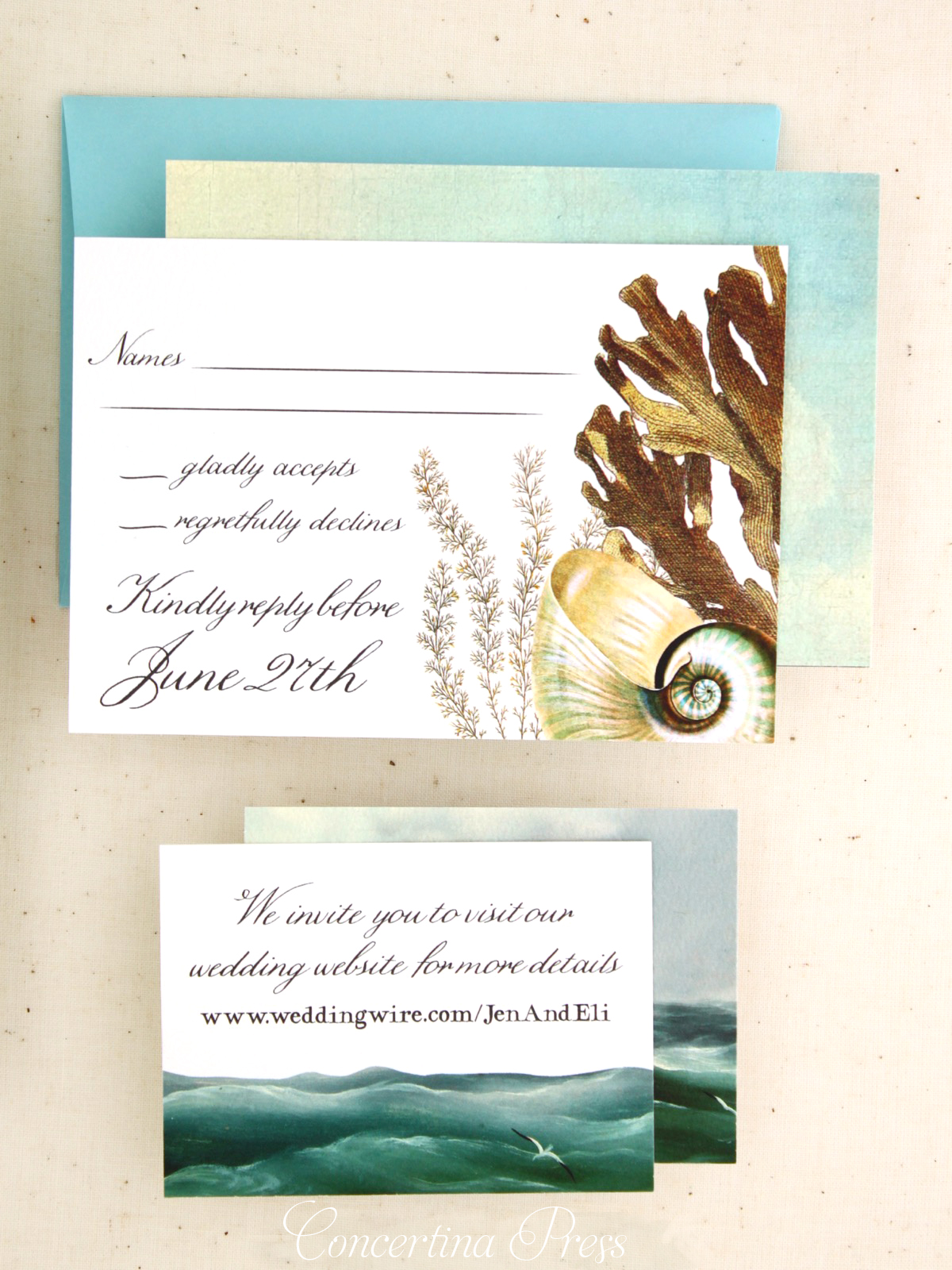 Nautical RSVP and website card from Concertina Press