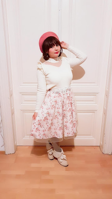 floral rose skirt and cute top from axes femme with a pink beret himekaji jfashion japanese fashion style
