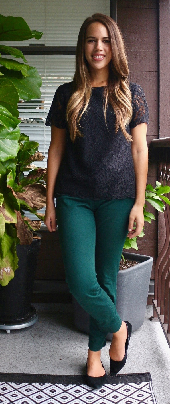 Jules in Flats - Lace T-Shirt and Pixie Pants for Work