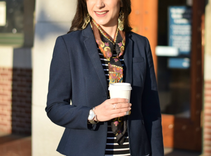 Navy Blazer, Two-Tone Watch, Gold Fringe Earrings and Silk Scarf Office Fashion