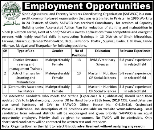 Sindh Agricultural Forestry Workers & Coordinating Organization SAFWCO NGO Posts June 2019