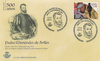 sobre, matasellos, sello, Pedro Menéndez, Avilés