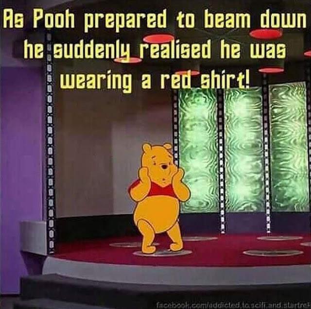 Pooh beaming down - has red shirt!