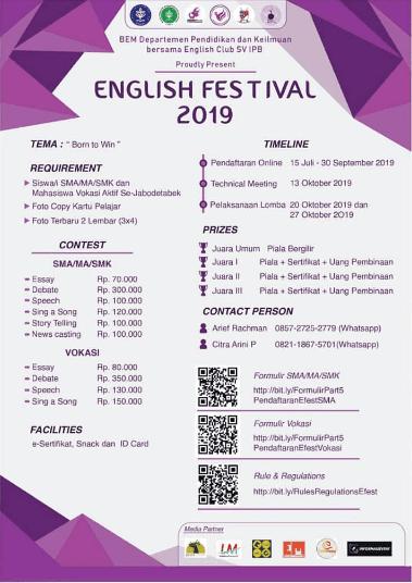 Event English Festival IPB 2019 Untuk SMA Sederajat & Mahasiswa