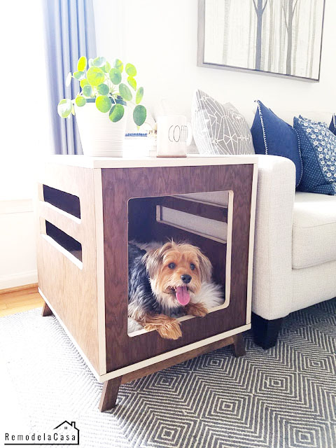 Yorkshire Terrier inside dog crate side table - mid century design