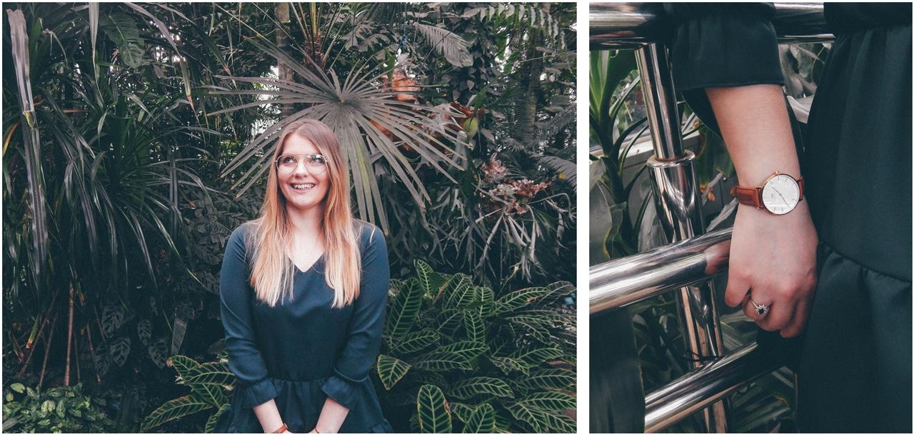 3 nagłówek mia gold zielona sukienka butelkowa zieleń z falbankami czarne muszkieterki za kolano deichmann blond fryzury modne 2018 ombre somblre daniel wellington sesja w palmiarni skórzany pasek palmy łódź
