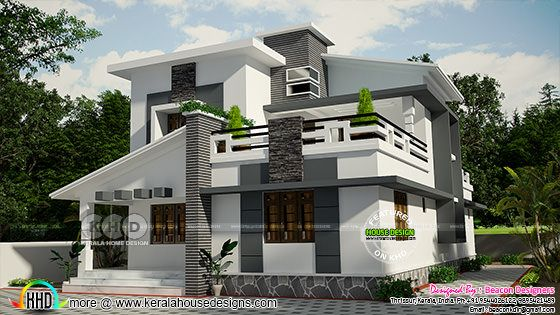 1738 sq-ft mixed roof villa design
