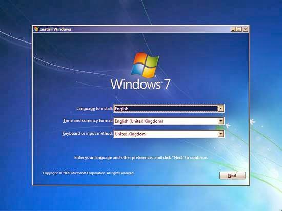 instalare windows 7 - primul pas - alegerea limbii