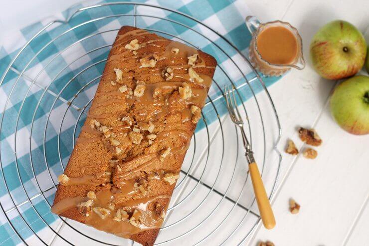 Apple Loaf Cake on cooling rack