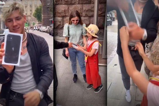 Influnecer regala un celular a una niña, pero se lo quita al terminar de grabar (VIDEO)