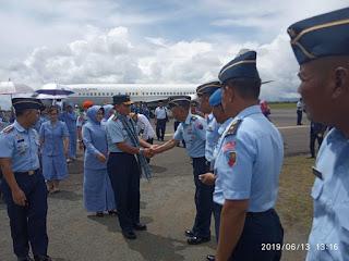 Penjemputan Kepala Staf TNI Angkatan Udara di Pangkalan TNI AU Leo Wattimena Morotai