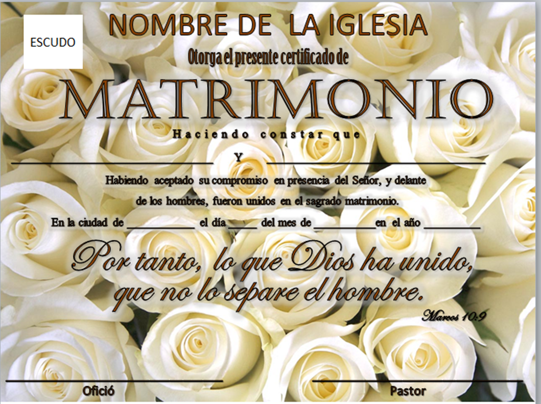Consejería Matrimonial Catolico Gratis : Iglesia mar abierto certificados de matrimonio para